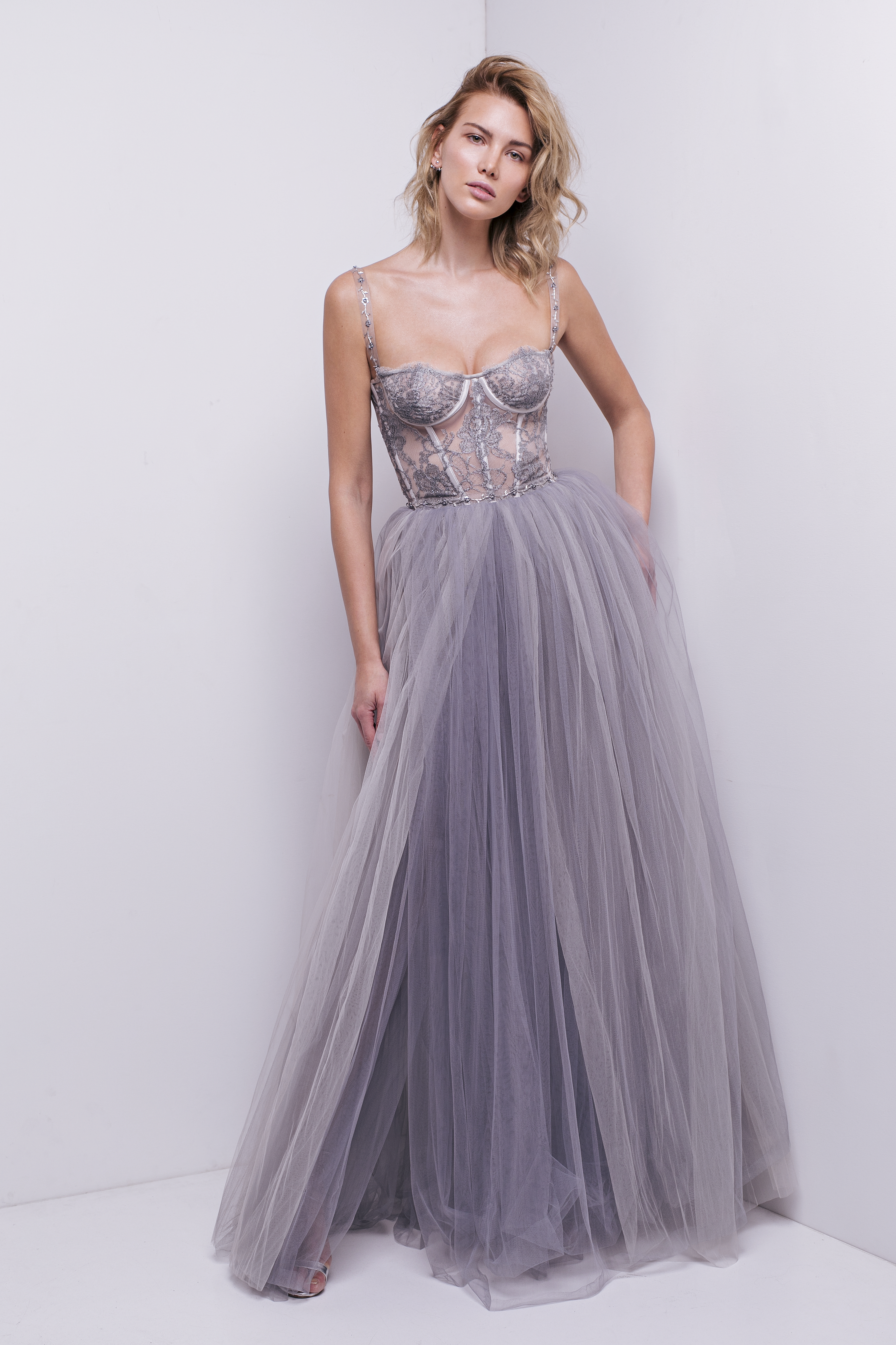 Beaded Tulle Prom Gown with Off-the-Shoulder Cap Sleeves